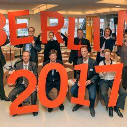 """DEKT36-Eroeffnung Deutscher Evangelischer Kirchentag 2017 Veranstalter halten Buchstaben """"Berlin 2017"""" hoch"""